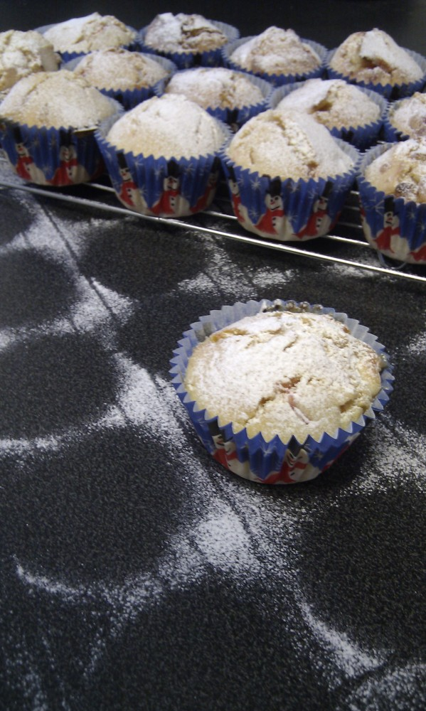 Cherry and white chocolate muffins